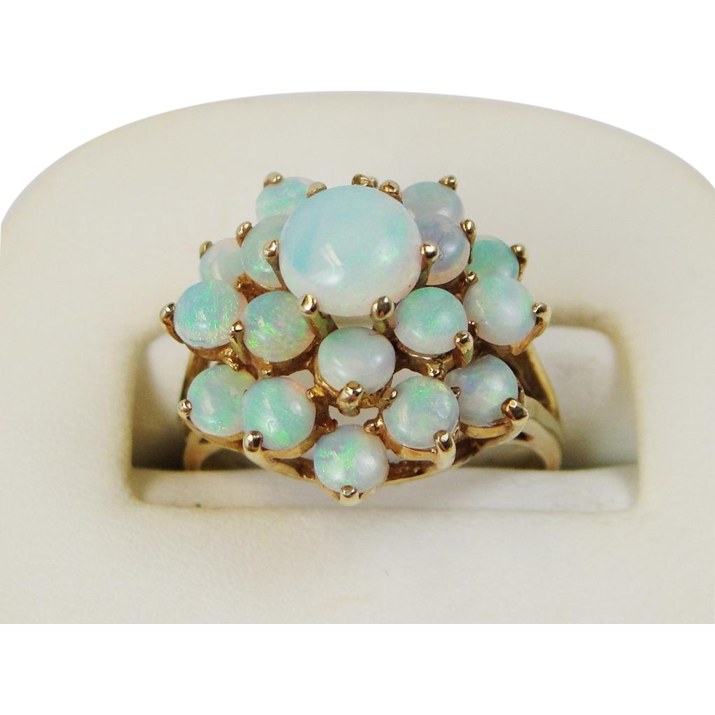 14k Gold Opal Cluster Ring Mid 20th Century Vintage