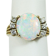 Estate Fiery Opal and Diamond 14k Yellow Gold Cocktail Ring, Signed