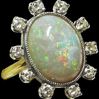 Estate Vintage Fiery Opal Diamond 14k Gold Ring, .50 ct tw Diamond