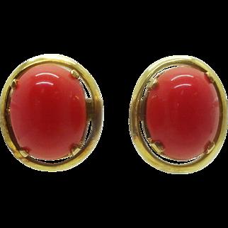 Vintage 14k Gold Red Orange Coral Oval Cabochon Stud Earrings