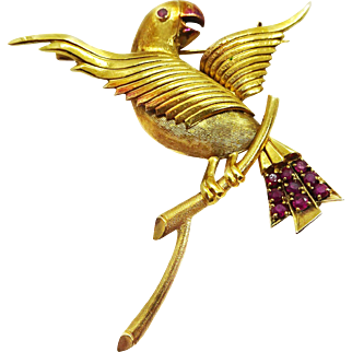 Vintage 14k Gold Parrot Pin Brooch, Lively Outstretched Wings, Ruby Accents