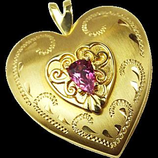 Pink Tourmaline 14k Gold Heart Locket, Fancy Etched Detail