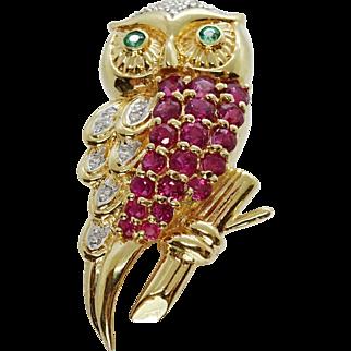 Estate Ruby Emerald Diamond Owl Enhancer Pendant Brooch 14k Yellow Gold