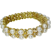 Estate Saltwater Pearl & Accent Diamond Bracelet 14k Gold