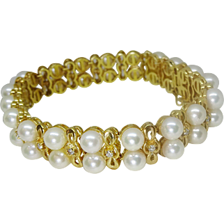 Estate Saltwater Pearl & Accent Diamond Bracelet 14k Gold