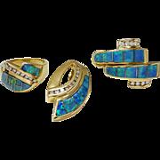 Thane DeLeon 14k Gold Opal Diamond Pendant, Ring, Earrings Set