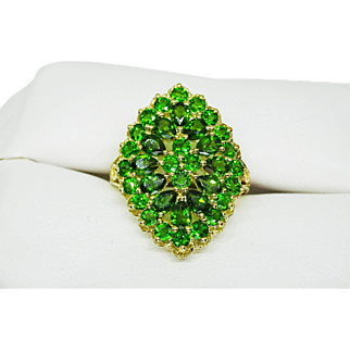 Estate 14k Gold Large Cocktail Tsavorite Garnet Cluster Ring, 3 ctw