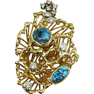 Estate Hand Crafted Turquoise Diamond Free-form Sculptural Pendant 14k Gold