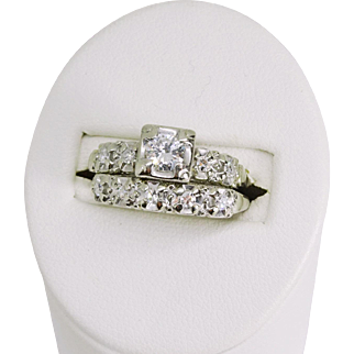 Vintage Diamond Wedding Band Set, 14k White Gold, .62 ctw