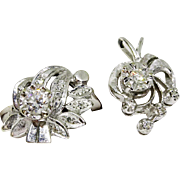 Retro Vintage 14k White Gold Diamond Ring & Matching Pendant