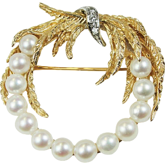 Designer Estate Pearl Diamond 14k Yellow Gold Wreath Brooch Pin