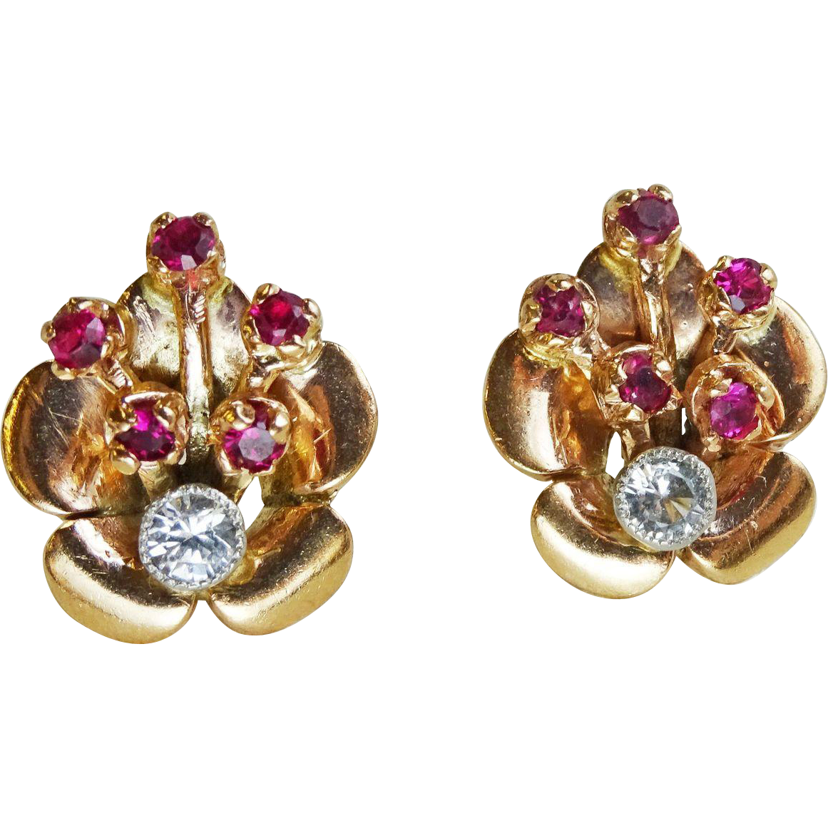 14k rose gold art deco earrings faux ruby and diamond gemstones from jewelrymart on ruby lane. Black Bedroom Furniture Sets. Home Design Ideas
