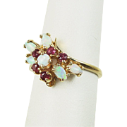 Vintage Estate Ruby and Fiery Opal 14k Yellow Gold Cluster Ring, .75 ct tw