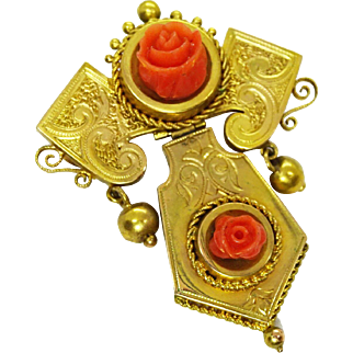 16k Gold Victorian Hinged Lavalier Brooch Pendant with Red Coral Roses
