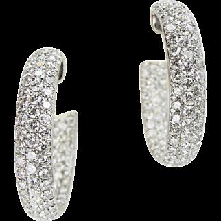 Estate 6.35 tcw Inside Out 18k White Gold Diamond Hoop Earrings