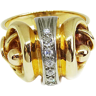 Bold Deco Era 18k Rose Gold Scroll Ring, Size 9.75, 7 Small Diamonds