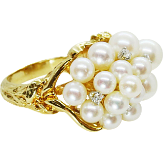 Estate 18k Yellow Gold Pearl and Diamond Cluster Ring, AAA pearls