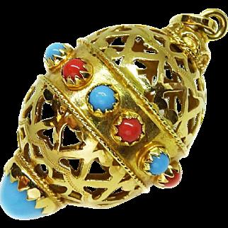 Estate Vintage 18k Yellow Gold Decorated Openwork Egg Pendant