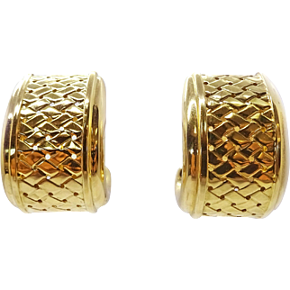 Estate Le Gi Italy 18k Solid Gold Woven Design Clip Earrings