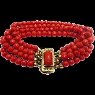 Vintage 18k Gold Oxblood Red Coral 4-Strand Bracelet, 5.5mm Beads