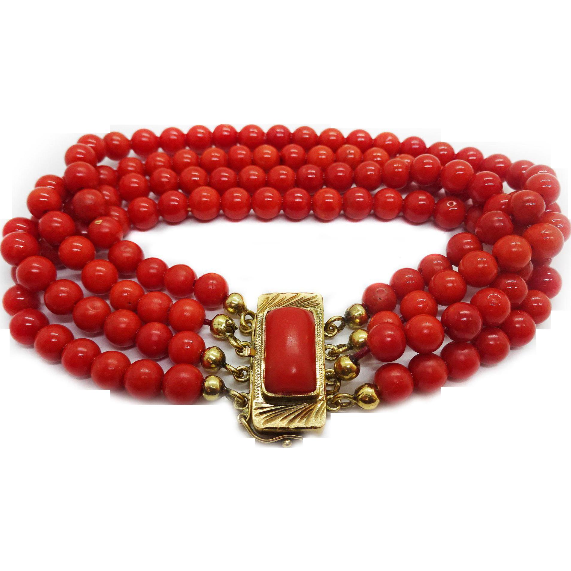 Macys Furniture Outlet Schaumburg Il: Vintage 18k Gold Oxblood Red Coral 4-Strand Bracelet, 5