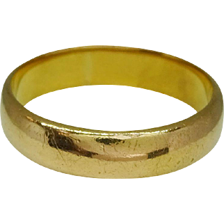 Vintage 22k Gold 5mm Wedding Band Hallmarked, Signed KBSP