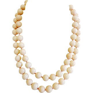 "Vintage Angel Skin Coral 10-11mm Bead Necklace, 34"" Continuous Strand"