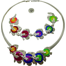 Estate Kabana Sterling Enamel Tropical Fish Collar Necklace & Bracelet Set