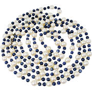 """Vintage Cultured Salt Water Pearl, Lapis and Mother-of-Pearl 55"""" Rope Necklace"""