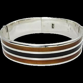Vintage Modernist Stripe Enameled Sterling Silver Hinged Bangle Bracelet