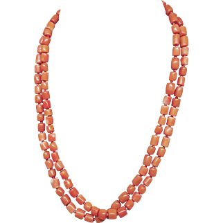 Estate Vintage Salmon Coral Hand Made Tubular Bead Necklace, 36″