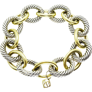 David Yurman Sterling & 18k Solid Gold Large Cable Link Bracelet 9″