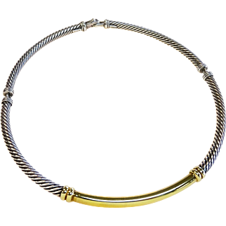 David Yurman 14k Gold & Sterling Metro Collection 5mm Cable Choker Necklace
