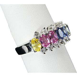 EFFY 14k White Gold Rainbow Sapphire Diamond Ring, 1.5ct, Size 6.75, Stunning