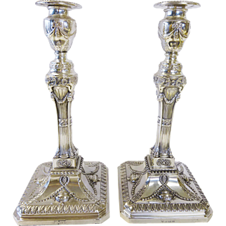 Pair of Ornate Antique Candlesticks Ellis Silver Co. Weighted Sterling Silver