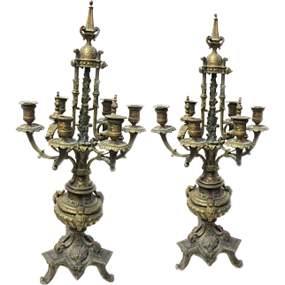 Pair of Two Antique 19th Century French Rococo Style Bronze Candelabras