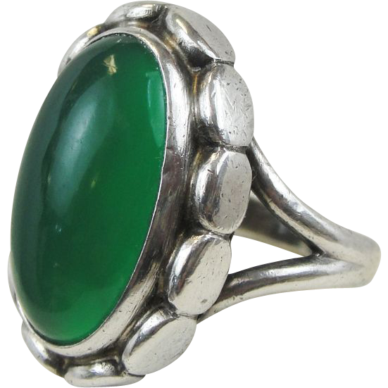 Georg Jensen Oval Green Cabochon Ring Design No 19