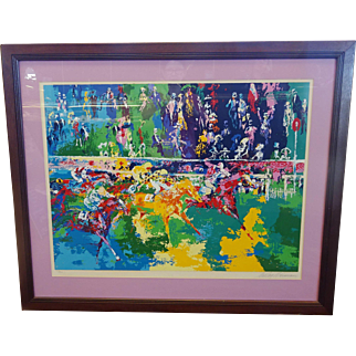 """LeRoy Neiman Framed Serigraph """"Ascot Finish"""" Hand Signed Limited Ed 135/300 1974"""