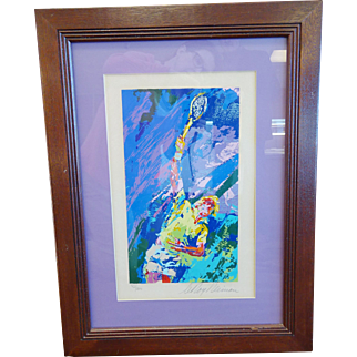 """LeRoy Neiman Framed Serigraph """"Classic Serve"""" Hand Signed Limited Ed 72/300 1974"""