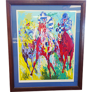 """LeRoy Neiman Framed Serigraph """"The Finish"""" Hand Signed Limited Ed 142/300 1974"""
