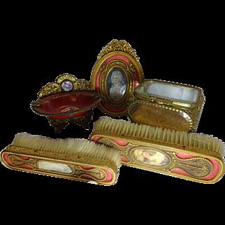 Vintage 5 Piece Brass with Gold Wash Orange Enameled Dresser Set