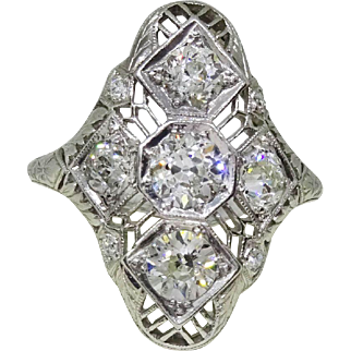 Edwardian Platinum Filigree Diamond Ring, Hand Carved Detail, 1.75 ct tw