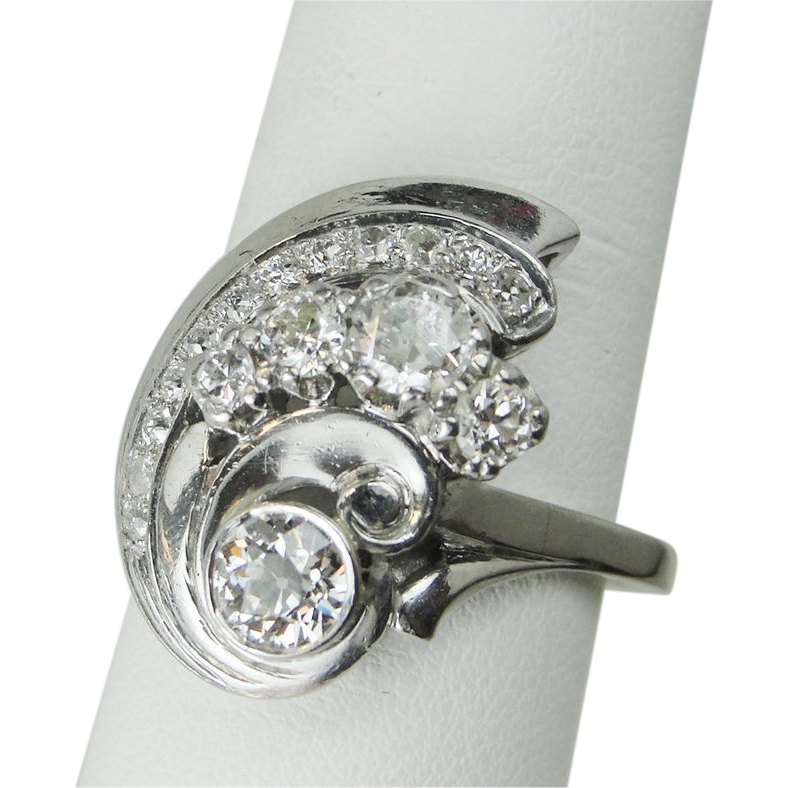 Diamond Cocktail Ring Vintage 7