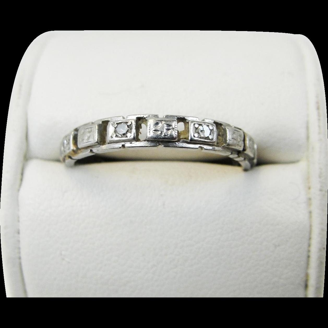 Vintage Edwardian 3mm Platinum Diamond Wedding Band Ring Openwork ...