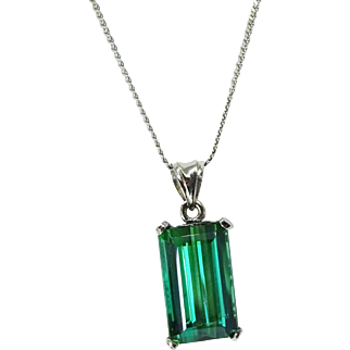 Platinum Estate Step Cut 4.42 Ct Green Tourmanline Pendant Necklace, GIA Cert