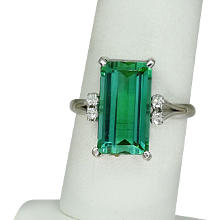 Estate Step Cut 5 Ct Green Tourmanline Diamond Ring in 18k Gold, GIA Cert