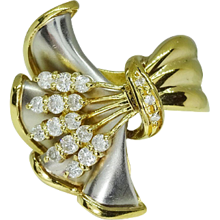 Retro Platinum 18k Gold Diamond Floral Spree Elegant Cocktail Ring