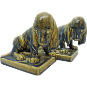 1929 Rookwood Art Pottery Spotted Gray Hound Dog Glazed Bookends