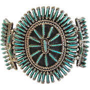 J S Bellson ZUNI Needlepoint Turquoise Sterling Silver Cuff Bracelet