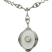 Victorian Sterling Camphor Glass Necklace, Intricately Detailed Links, Marcasite Accents